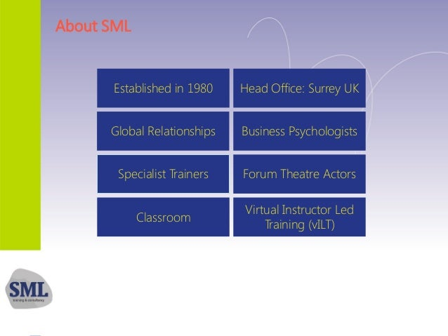 About SML Established in 1980 Head Office: Surrey UK Global Relationships Business Psychologists Specialist Trainers Forum...