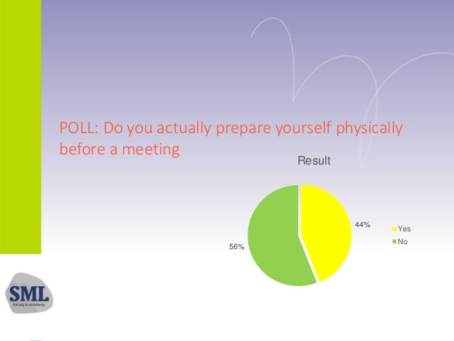 POLL: Do you actually prepare yourself physically before a meeting 44% 56% Result Yes No