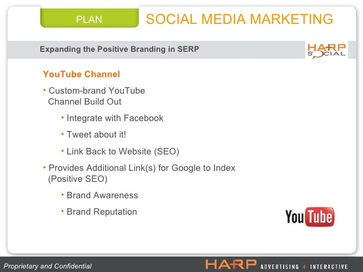PLAN Expanding the Positive Branding in SERP SOCIAL MEDIA MARKETING Proprietary and Confidential  <ul><li>YouTube Channel ...