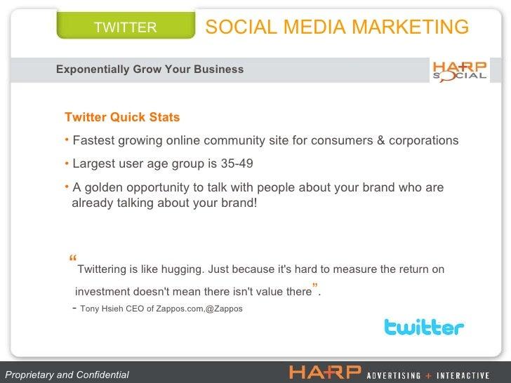 TWITTER Exponentially Grow Your Business   Proprietary and Confidential  <ul><li>Twitter Quick Stats </li></ul><ul><li>Fas...