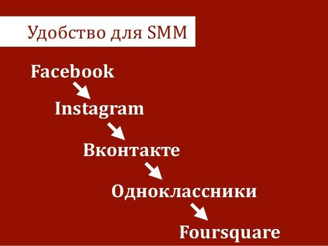 Удобство  для  SMM Facebook Вконтакте Одноклассники Instagram Foursquare