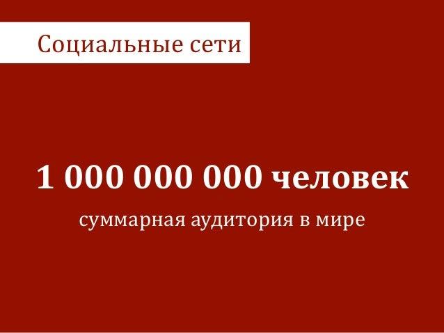 Социальные  сети 1  000  000  000  человек суммарная  аудитория  в  мире
