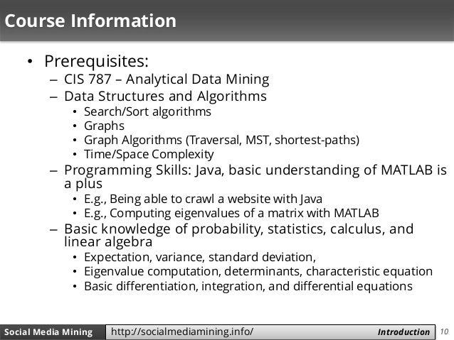 10Social Media Mining Measures and Metrics 10Social Media Mining Introductionhttp://socialmediamining.info/ Course Informa...