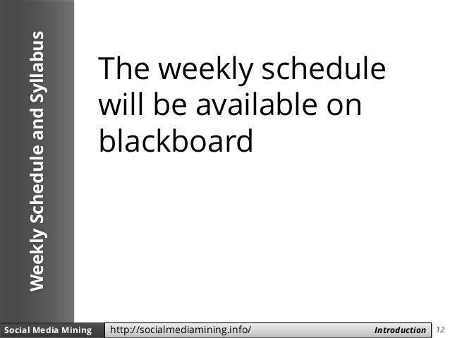 12Social Media Mining Measures and Metrics 12Social Media Mining Introductionhttp://socialmediamining.info/ WeeklySchedule...