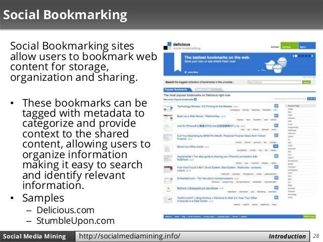 28Social Media Mining Measures and Metrics 28Social Media Mining Introductionhttp://socialmediamining.info/ Social Bookmar...