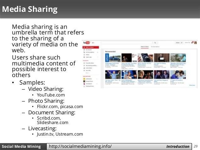 29Social Media Mining Measures and Metrics 29Social Media Mining Introductionhttp://socialmediamining.info/ Media Sharing ...
