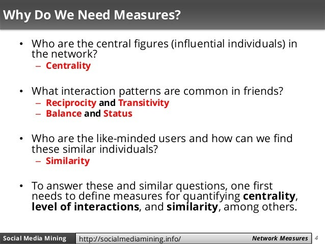 4Social Media Mining Measures and Metrics 4Social Media Mining Network Measureshttp://socialmediamining.info/ Why Do We Ne...