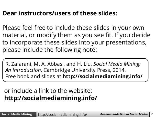 Social Media Mining - Chapter 9 (Recommendation in Social Media) Slide 2
