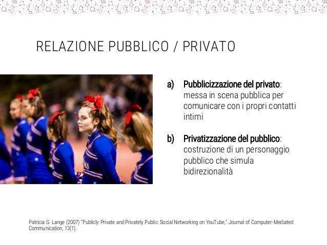 RELAZIONE PUBBLICO / PRIVATO a) Pubblicizzazione del privato: messa in scena pubblica per comunicare con i propri contatti...