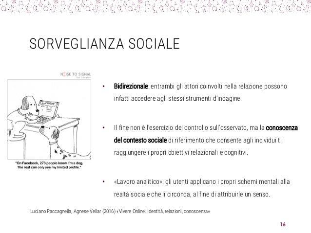 SORVEGLIANZA SOCIALE • Bidirezionale: entrambi gli attori coinvolti nella relazione possono infatti accedere agli stessi s...