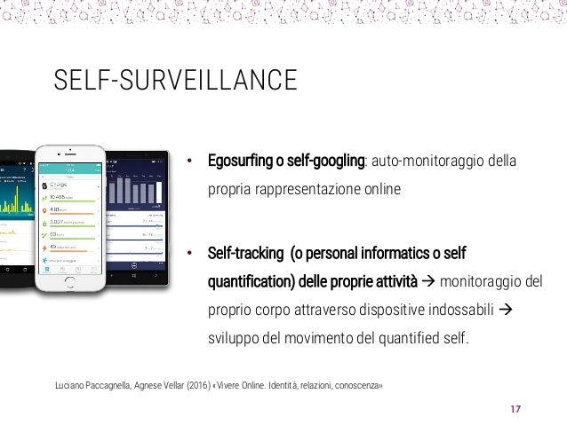 SELF-SURVEILLANCE • Egosurfing o self-googling: auto-monitoraggio della propria rappresentazione online • Self-tracking (o...