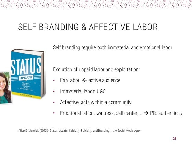 SELF BRANDING & AFFECTIVE LABOR Self branding require both immaterial and emotional labor Evolution of unpaid labor and ex...