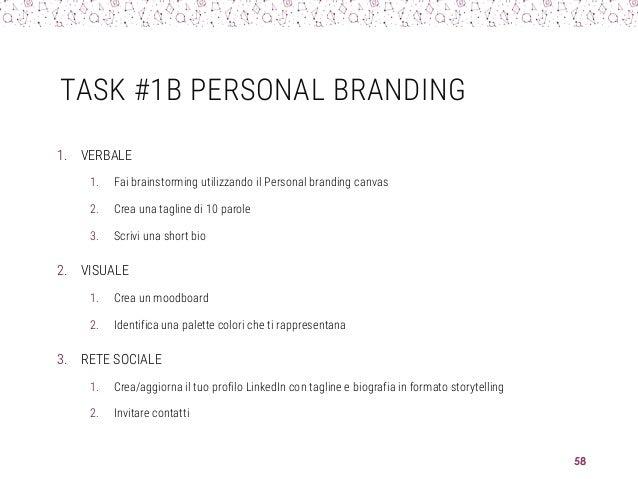 TASK #1B PERSONAL BRANDING 1. VERBALE 1. Fai brainstorming utilizzando il Personal branding canvas 2. Crea una tagline di ...