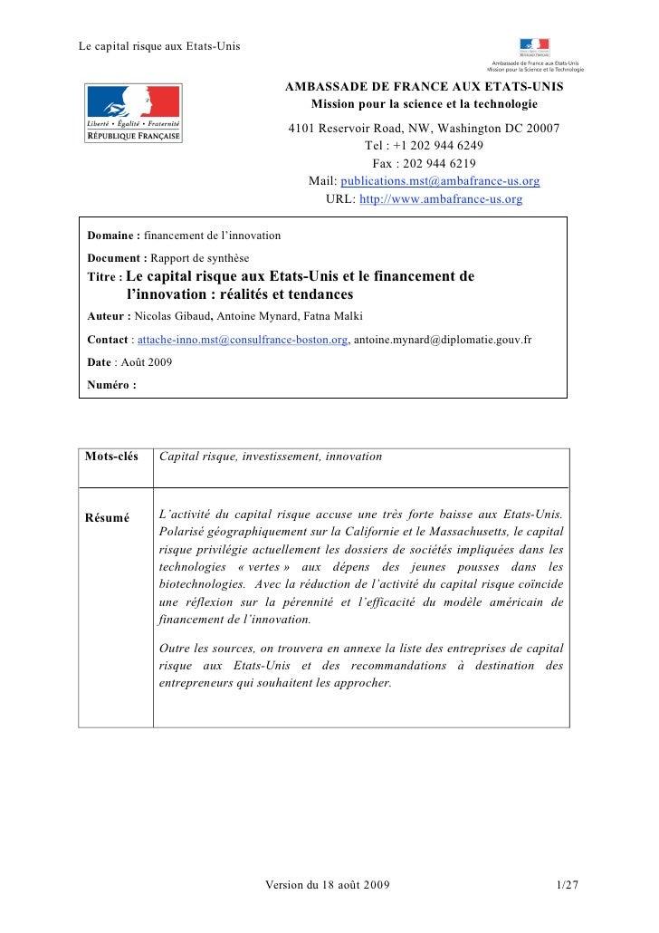 Le capital risque aux Etats-Unis                                            AMBASSADE DE FRANCE AUX ETATS-UNIS            ...