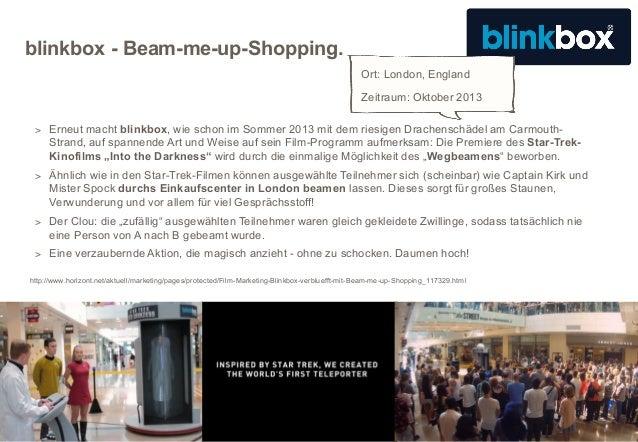 blinkbox - Beam-me-up-Shopping. Ort: London, England Zeitraum: Oktober 2013 > Erneut macht blinkbox, wie schon im Sommer 2...