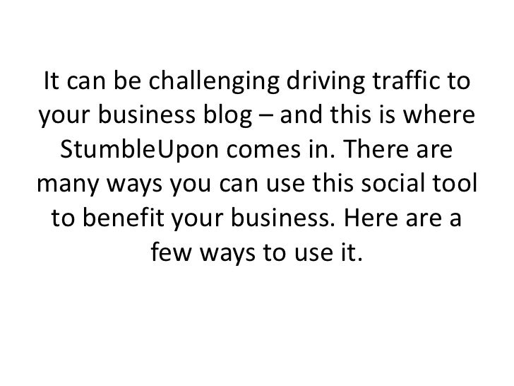 How To Use StumbleUpon For Business