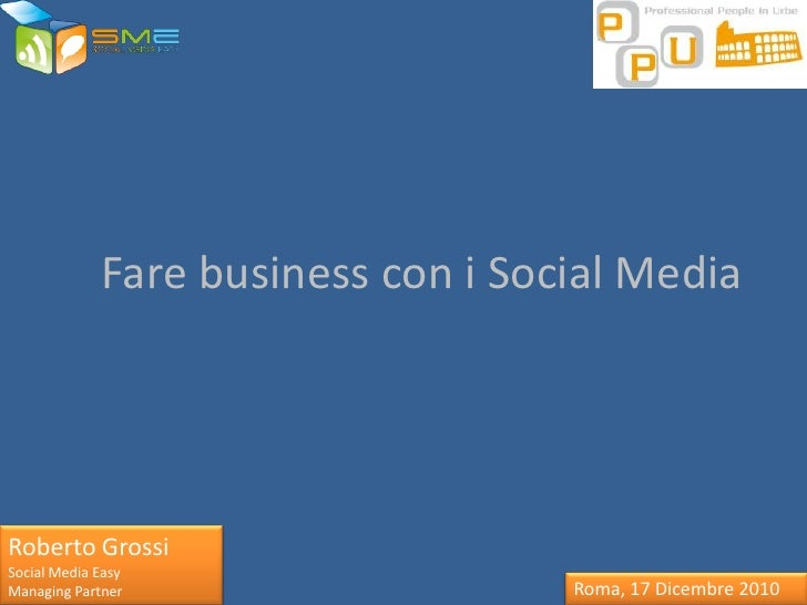 Fare business con i Social Media