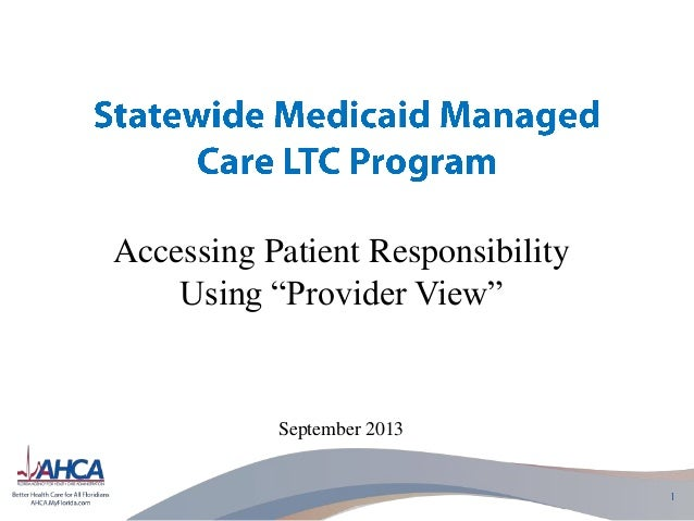 "Accessing Patient Responsibility Using ""Provider View""  September 2013"