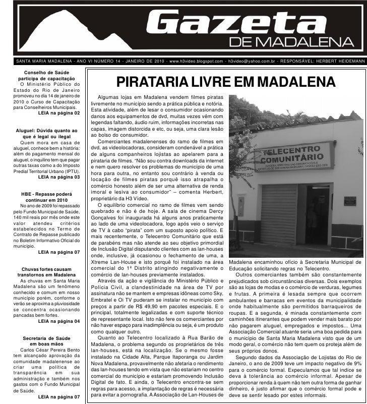 Edição 14 - Janeiro de 2010                                            Gazeta de Madalena                                 ...