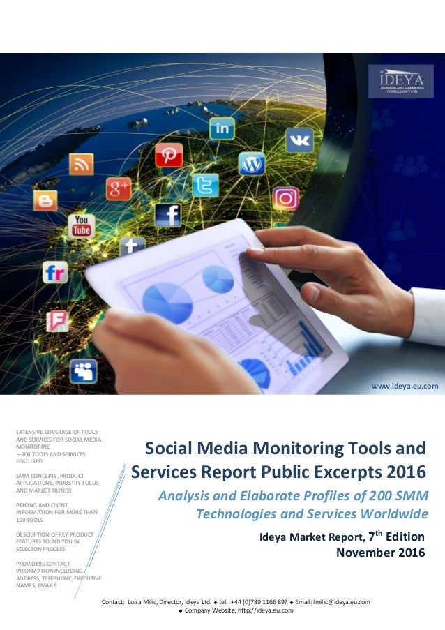 w.ideya.eu.com Analysis and Elaborate Profiles of 200 SMM Technologies and Services Worldwide Ideya Market Report, 7th Edi...