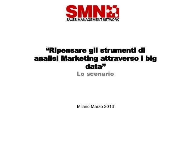 """""""Ripensare gli strumenti dianalisi Marketing attraverso i big              data""""           Lo scenario           Milano Ma..."""