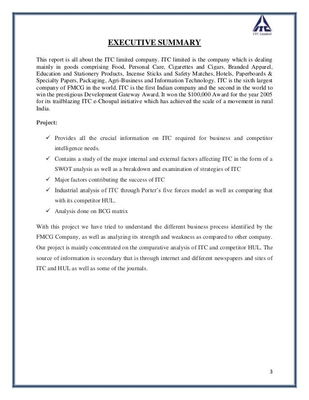 itc limited conclusions Itc limited: india first case solution,itc limited: india first case analysis, itc limited: india first case study solution, the case traces the evolution of itc limited (itc) since its creation as a marketing subsidiary of british american tobacco (bat) in 1910 in one of the mos.