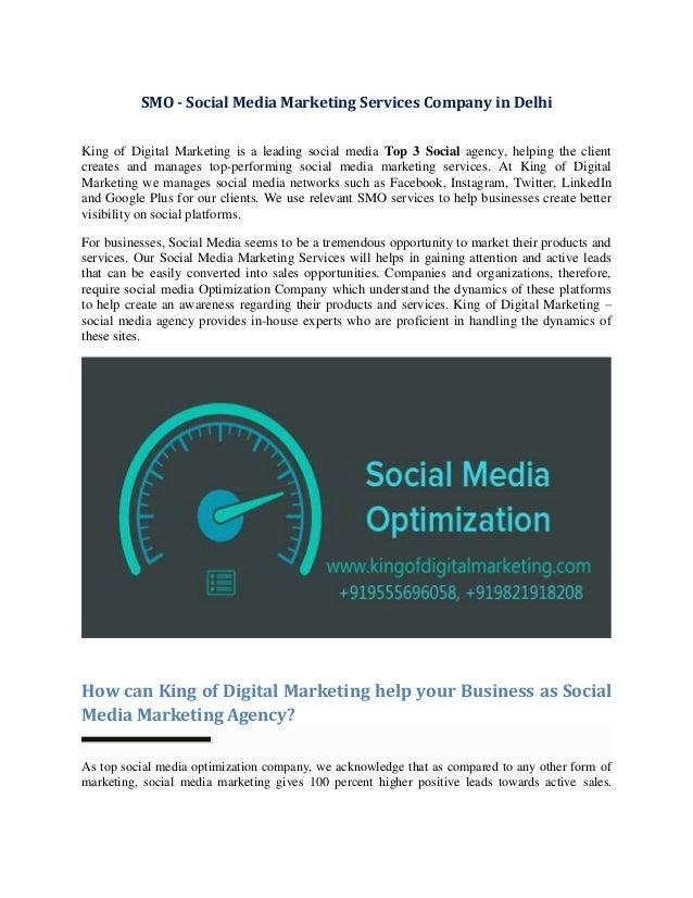 SMO - Social Media Marketing Services Company in Delhi King of Digital Marketing is a leading social media Top 3 Social ag...