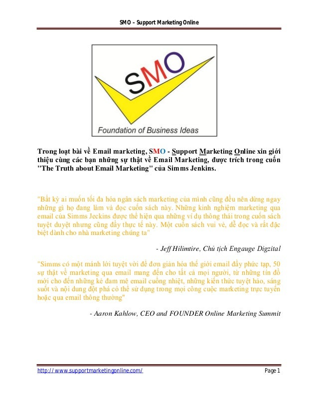 SMO – Support Marketing Onlinehttp://www.supportmarketingonline.com/ Page 1Trong loạt bài về Email marketing, SMO - Suppor...