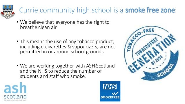 Currie community high school is a smoke free zone: • We believe that everyone has the right to breathe clean air • This me...