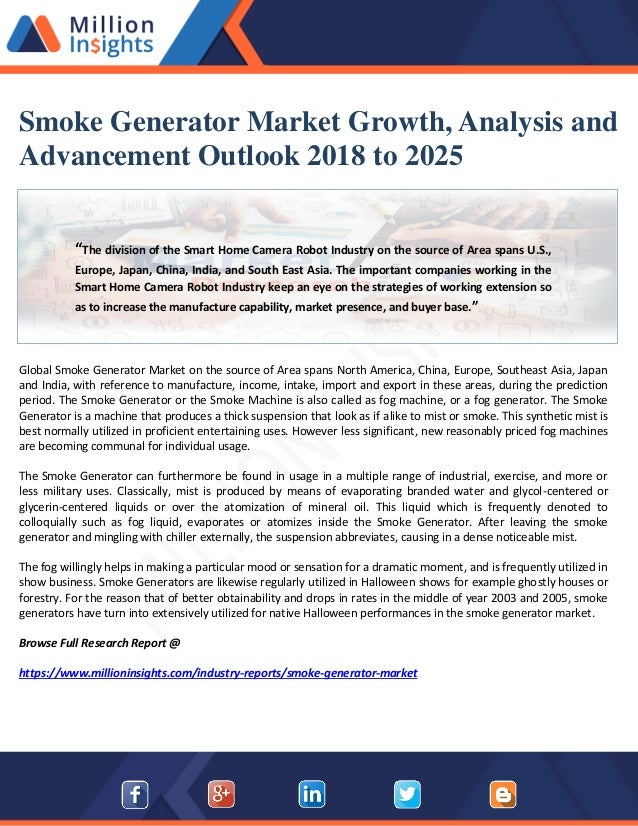 Smoke generator market growth, analysis and advancement