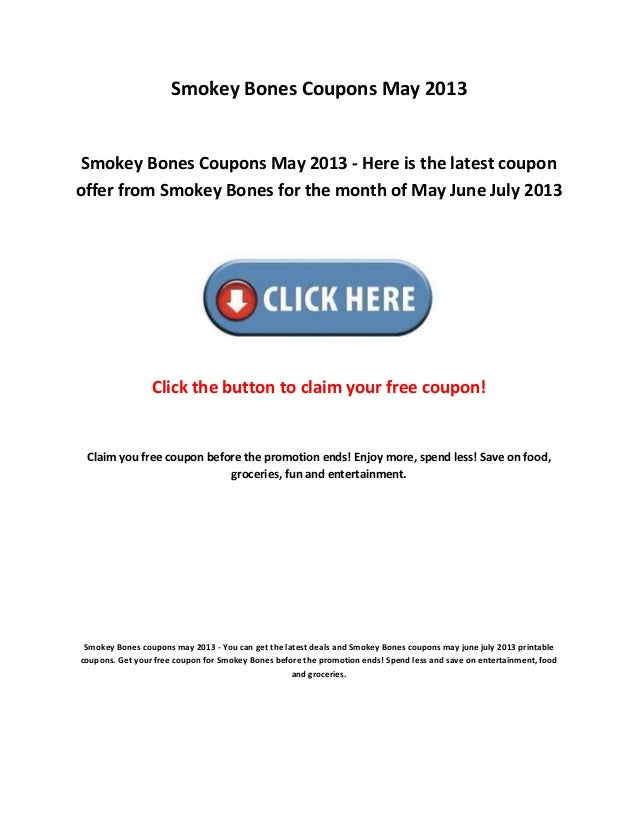photograph regarding Smokey Bones Coupons Printable identified as Smokey bones coupon codes could 2013