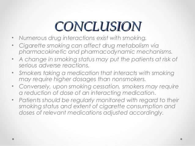 conclusion on smoking One of the most common problems today that are killing people, all over the world, is smoking many people start this horrible habit because of stress, personal issues and high blood pressure.