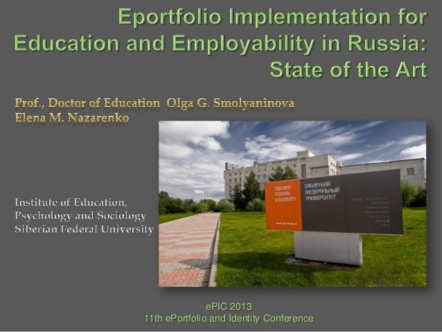 ePIC 2013 11th ePortfolio and Identity Conference