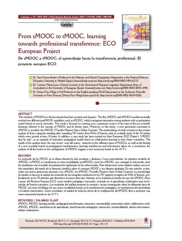 From sMOOC to tMOOC, learning towards professional transference: ECO European Project De sMOOC a tMOOC, el aprendizaje hac...