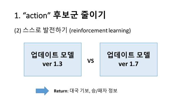 "1.  ""action""  후보군 줄이기 (2) 스스로 발전하기 (reinforcement  learning) 업데이트 모델 ver 1.3 업데이트 모델 ver 1.7VS Return:  대국 기보, 승/패..."