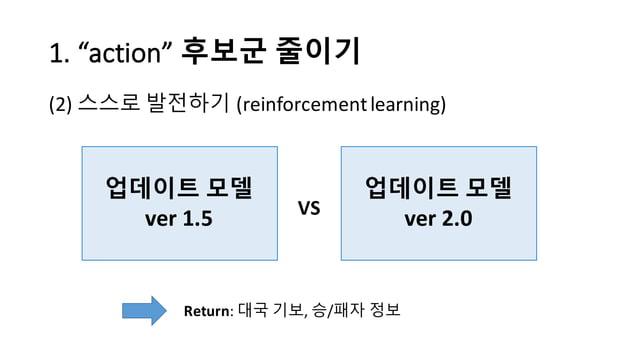 "1.  ""action""  후보군 줄이기 (2) 스스로 발전하기 (reinforcement  learning) 업데이트 모델 ver 1.5 업데이트 모델 ver 2.0VS Return:  대국 기보, 승/패..."