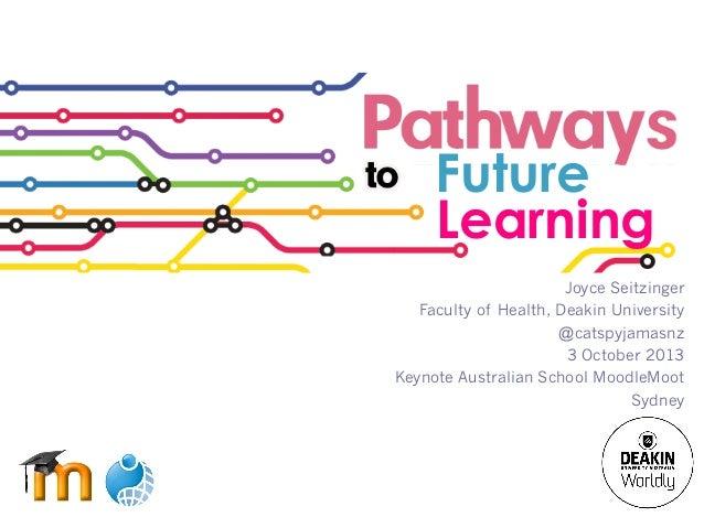 Future Learning Joyce Seitzinger Faculty of Health, Deakin University @catspyjamasnz 3 October 2013 Keynote Australian Sch...
