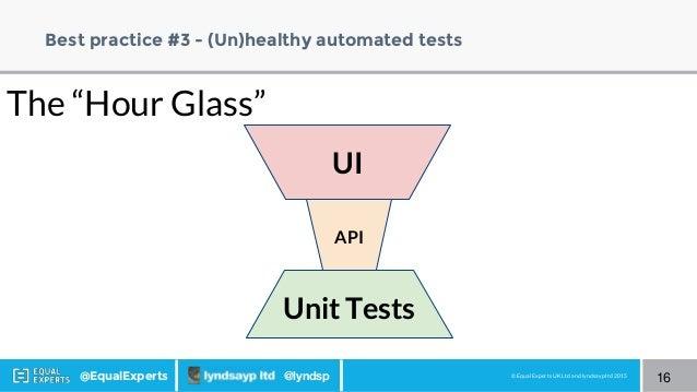 © Equal Experts UK Ltd and lyndsayp ltd 2015@EqualExperts @lyndsp Best practice #3 - (Un)healthy automated tests 16 API UI...