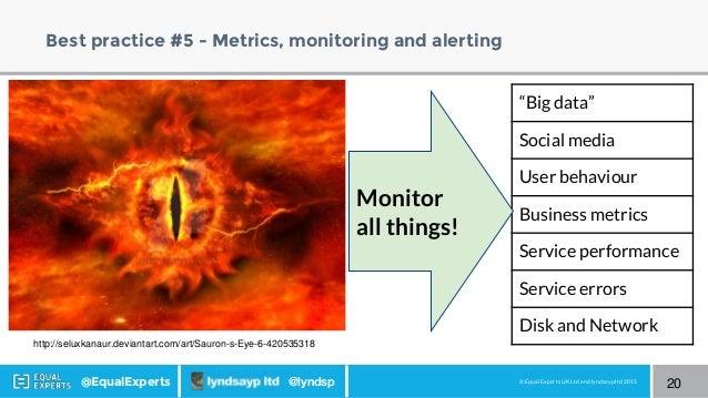 © Equal Experts UK Ltd and lyndsayp ltd 2015@EqualExperts @lyndsp Best practice #5 - Metrics, monitoring and alerting 20 h...