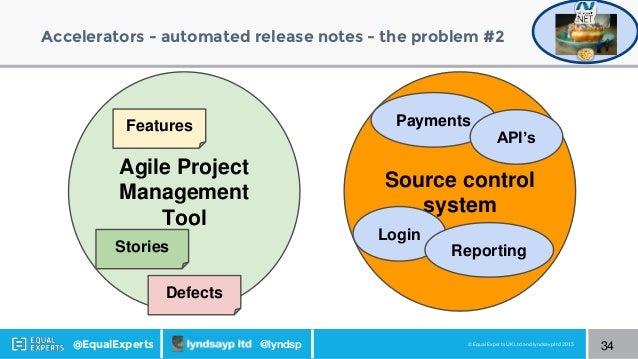 © Equal Experts UK Ltd and lyndsayp ltd 2015@EqualExperts @lyndsp Accelerators - automated release notes - the problem #2 ...