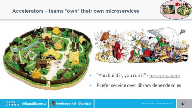 """© Equal Experts UK Ltd and lyndsayp ltd 2015@EqualExperts @lyndsp Accelerators - teams """"own"""" their own microservices 37 ▪ ..."""