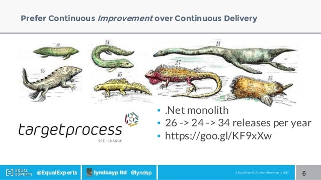 © Equal Experts UK Ltd and lyndsayp ltd 2015@EqualExperts @lyndsp Prefer Continuous Improvement over Continuous Delivery ▪...