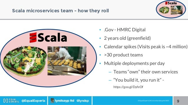 © Equal Experts UK Ltd and lyndsayp ltd 2015@EqualExperts @lyndsp Scala microservices team - how they roll 9 ▪ .Gov - HMRC...