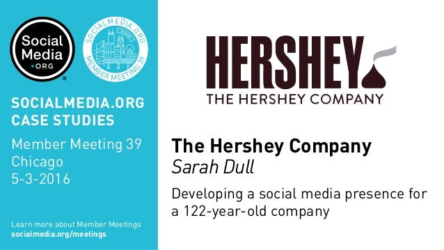 MEM BER MEETIN G 39 SOC IALMEDIA. ORG The Hershey Company Sarah Dull Developing a social media presence for a 122-year-old...