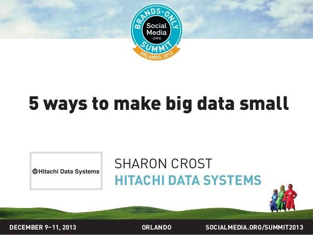 SOCIALMEDIA.ORG/SUMMIT2013ORLANDO 5 ways to make big data small SHARON CROST HITACHI DATA SYSTEMS DECEMBER 9–11, 2013