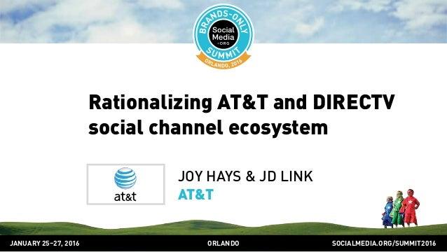SOCIALMEDIA.ORG/SUMMIT2016ORLANDOJANUARY 25–27, 2016 Rationalizing AT&T and DIRECTV social channel ecosystem JOY HAYS & JD...