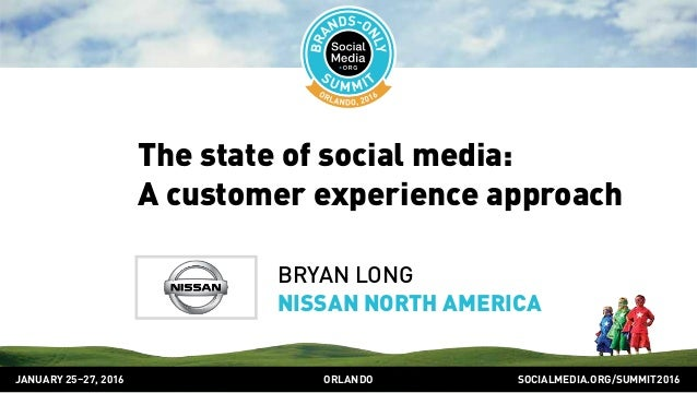 SOCIALMEDIA.ORG/SUMMIT2016ORLANDOJANUARY 25–27, 2016 The state of social media: A customer experience approach BRYAN LONG ...