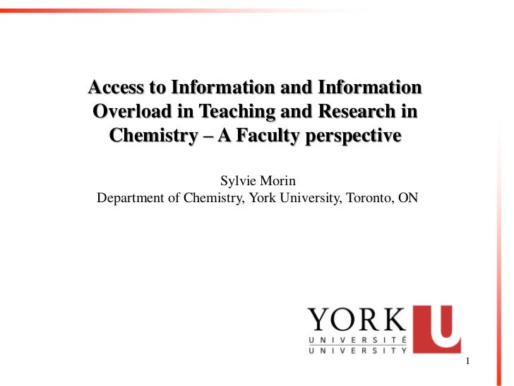 Access to Information and InformationOverload in Teaching and Research in  Chemistry – A Faculty perspective              ...