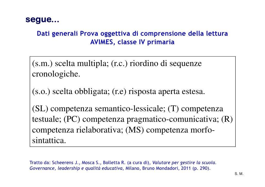 segue...   Dati generali Prova oggettiva di comprensione della lettura                    AVIMES, classe IV primaria (s.m....