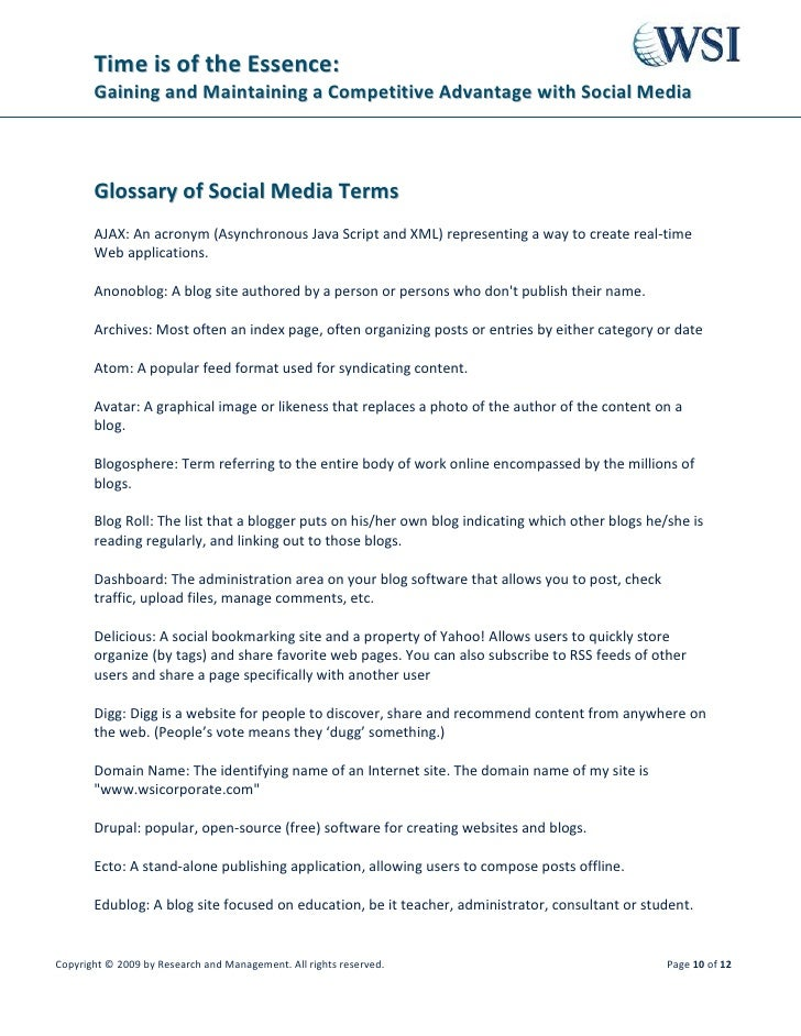 Time is of the Essence:        Gaining and Maintaining a Competitive Advantage with Social Media           Glossary of Soc...